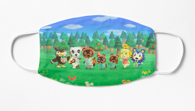 A animal crossing background with various characters printed on a non-medical face mask