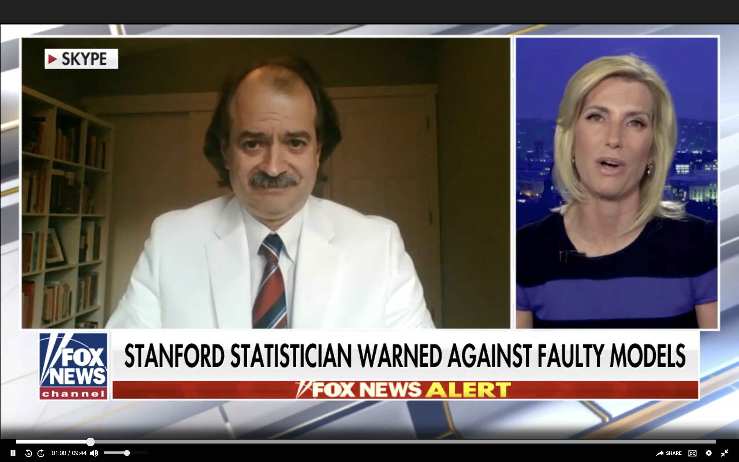 John Ioannidis and Laura Ingraham on a television screen