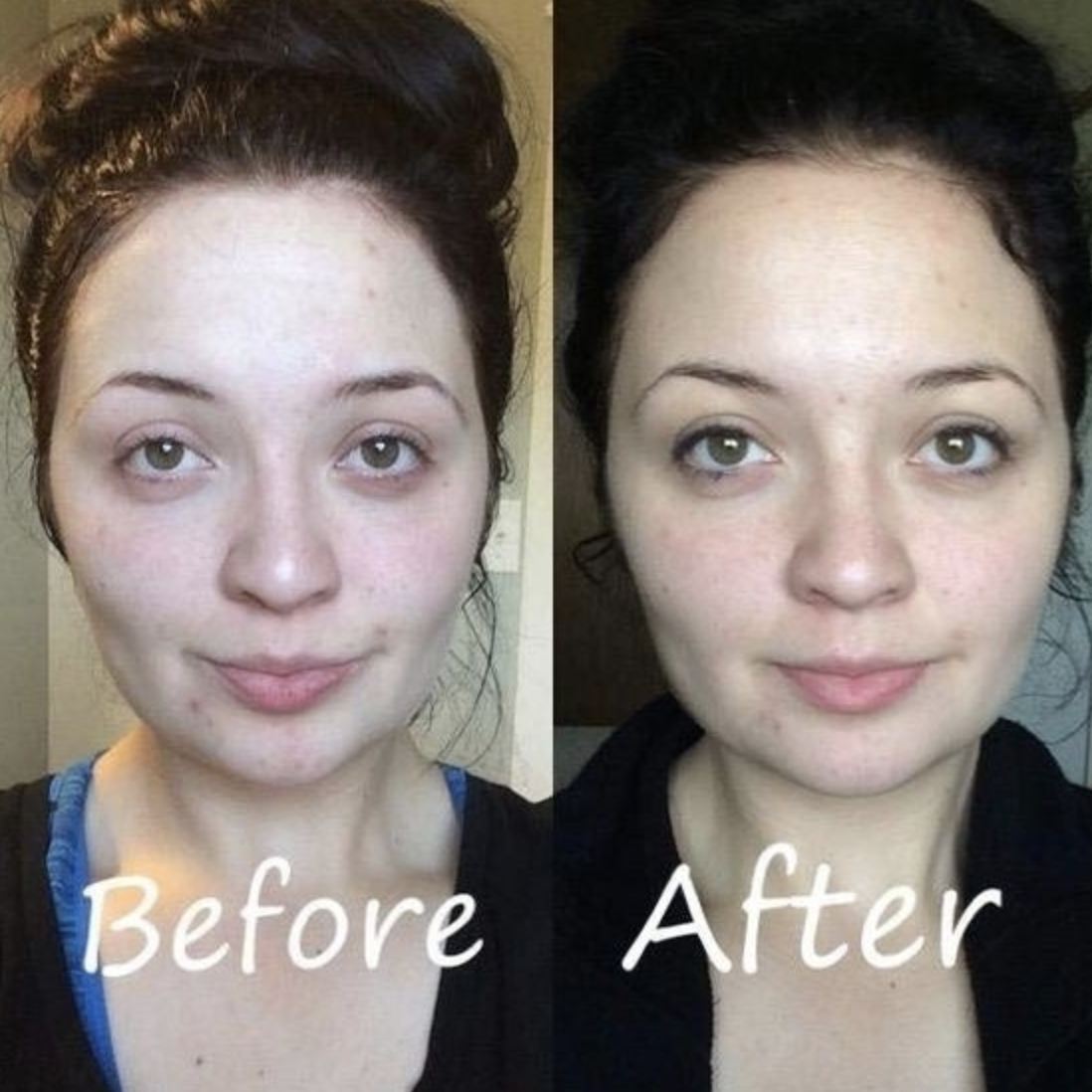 On the left, a woman's face before using the toner spray. On the right, the same woman's face after using the toner spray