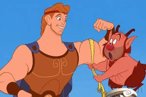 a cartoon version of Hercules breaking a measuring tape a half-human, half-goat is holding with his bicep muscle