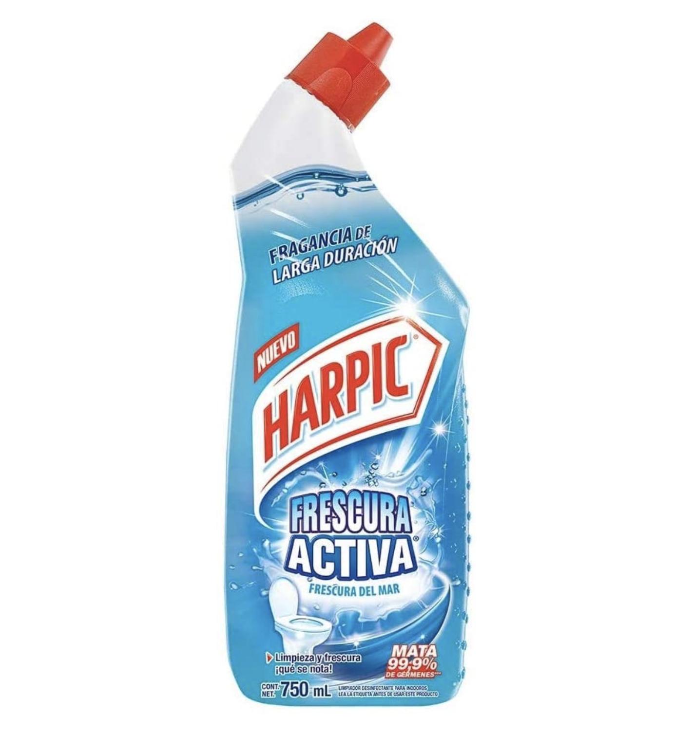 Bote de limpiador harpic frescura activa para la taza del baño