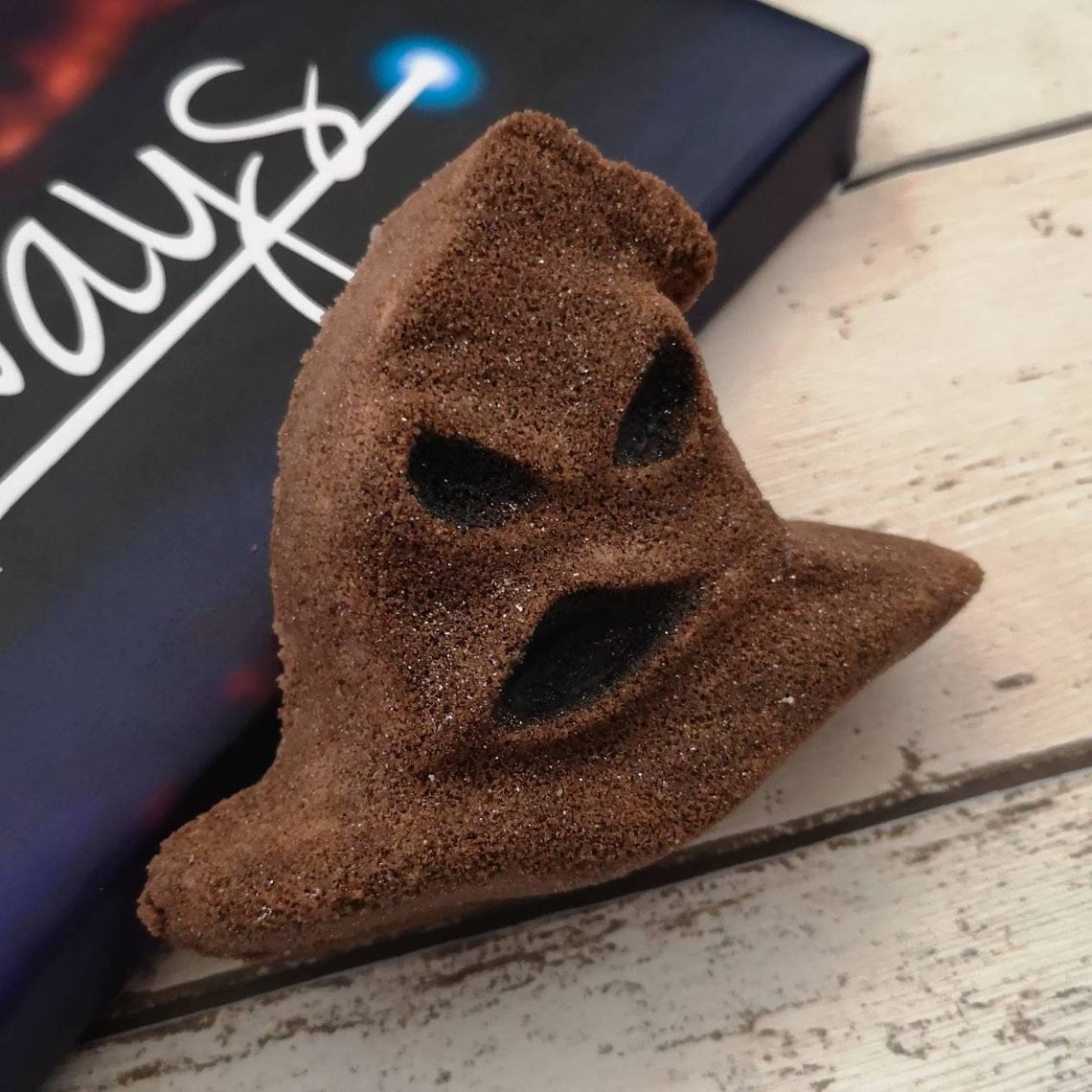 A bath bomb shaped exactly like the Sorting Hat in Harry Potter