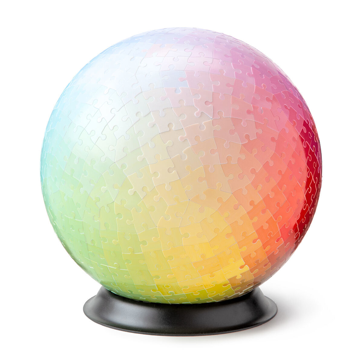 The completed spherical puzzle on the display stand