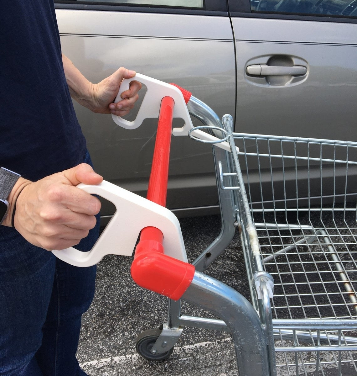 Two white handles that hook onto a shopping cart