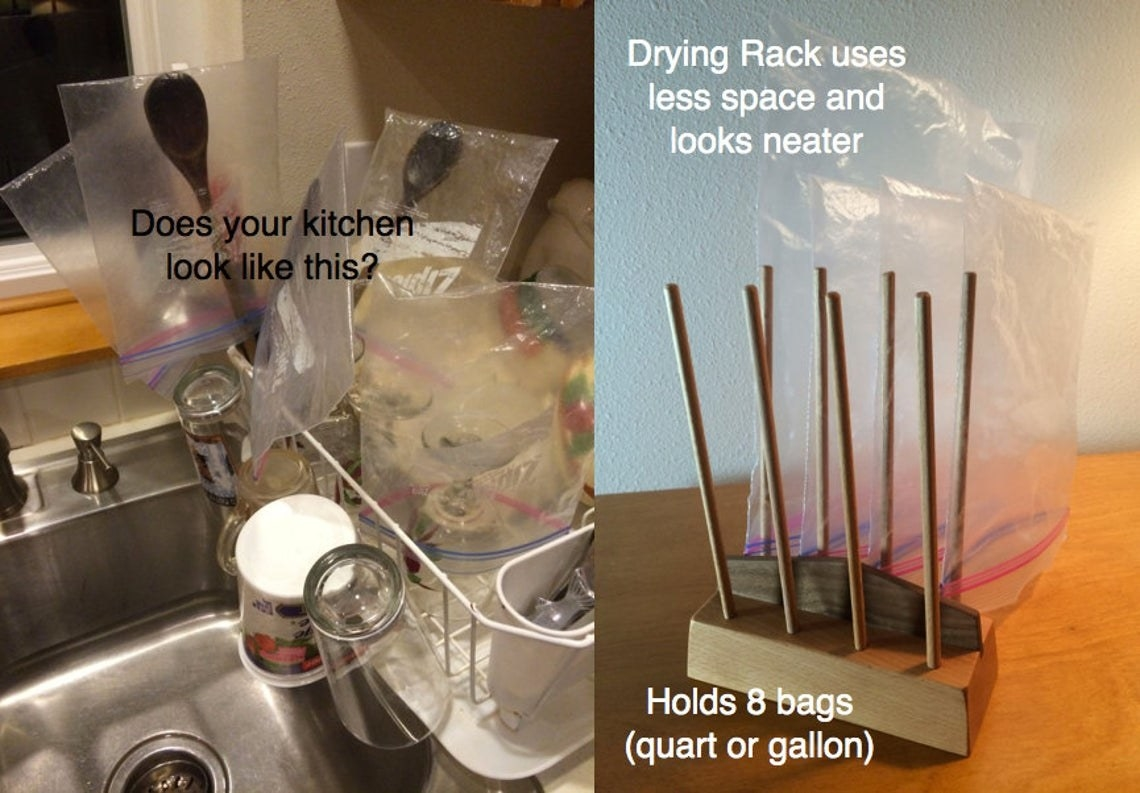 On the left, plastic bags are strewn around a dish rack haphazardly. On the right, a wooden stand with eight dowels to hold plastic bags with bags neatly lined up and standing upside down