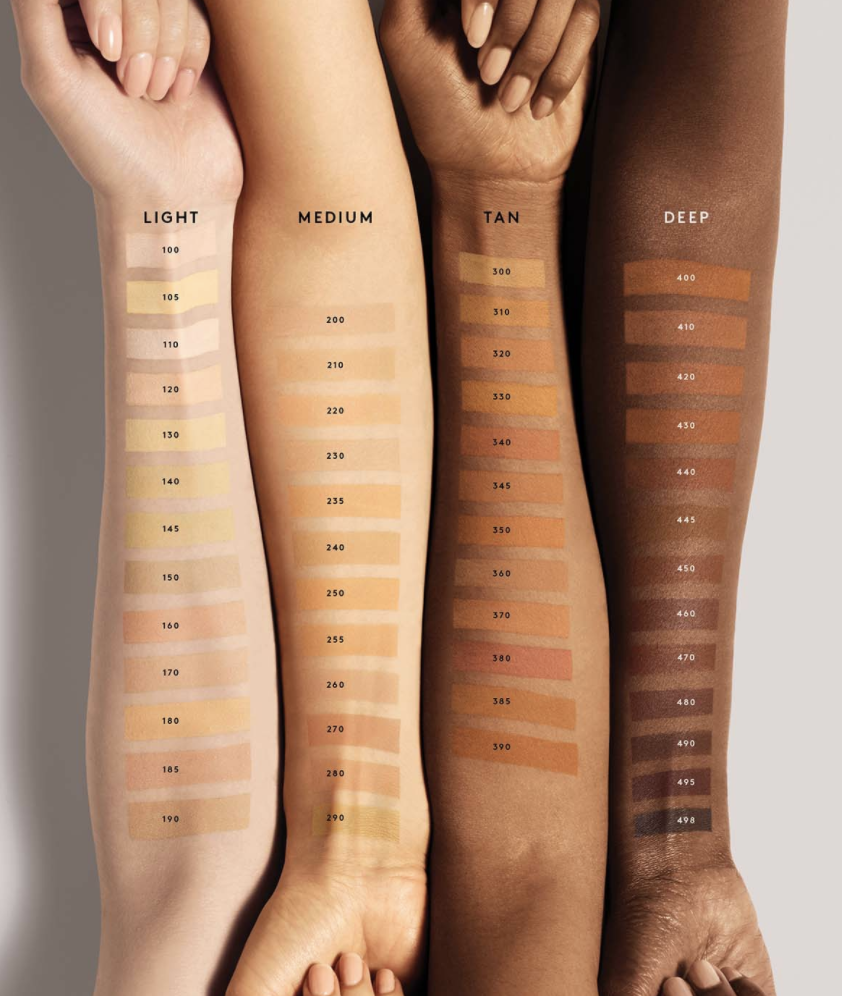 A row of arms of different skin tones showing swatches of all the foundation shades