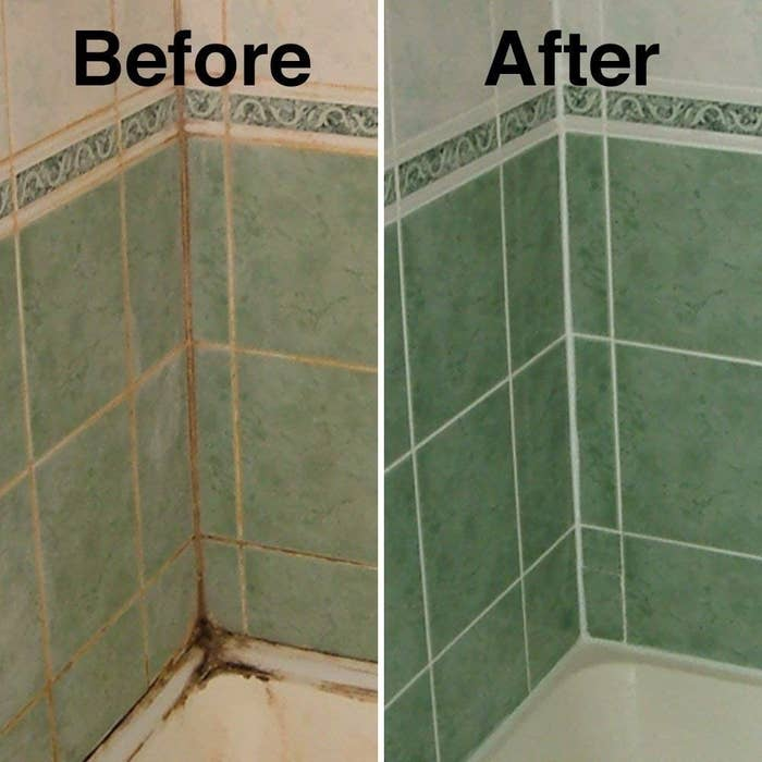 Before and after picture of grimy grouting and clean grouting