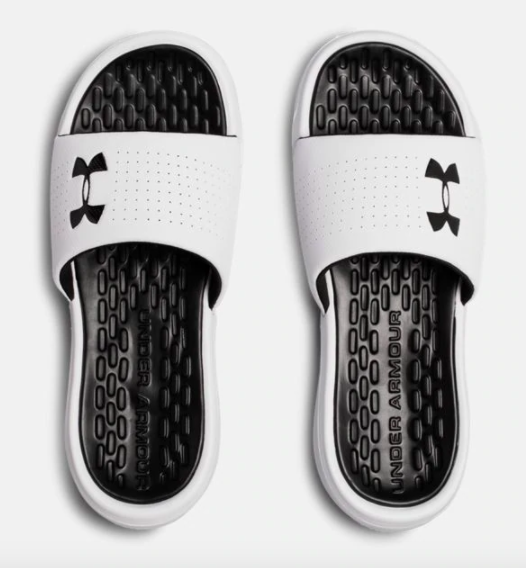 Men's strap slides in black and white colorway
