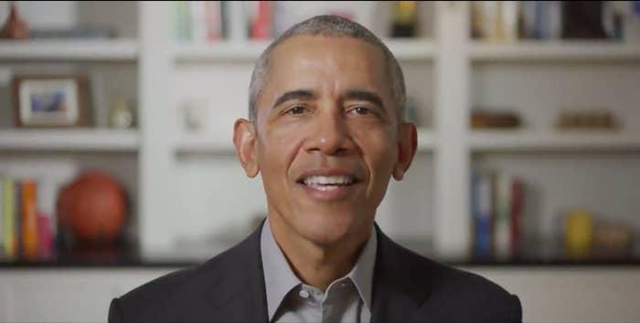 Barack Obama giving the 2020 commencement address