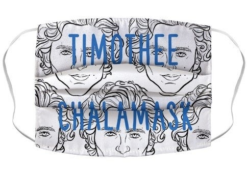 A white non-medical face mask with recurring illustrations of Timothée Chalamet that reads Timothee Chalamask in blue font