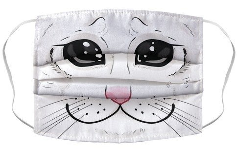 A non-medical mask with the crying cat face meme illustrated on it