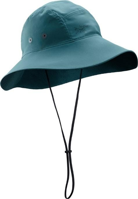 Blue sun hat from front with black string