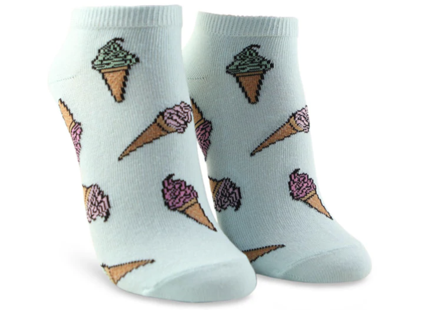 a pair of mint colored socks covered in pink ice cream cones