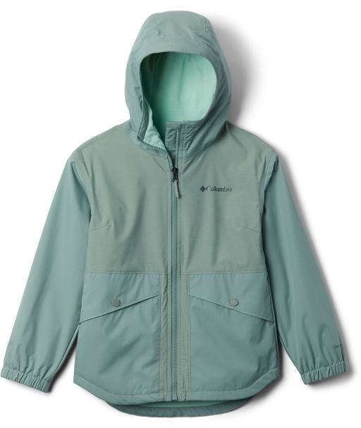 A seafoam green zip up jacket from frontview