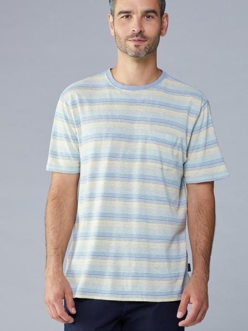 Pastel striped short sleeve tee front view