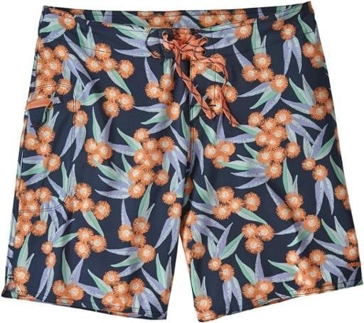 Navy board shorts with tropical floral pattern from the front view