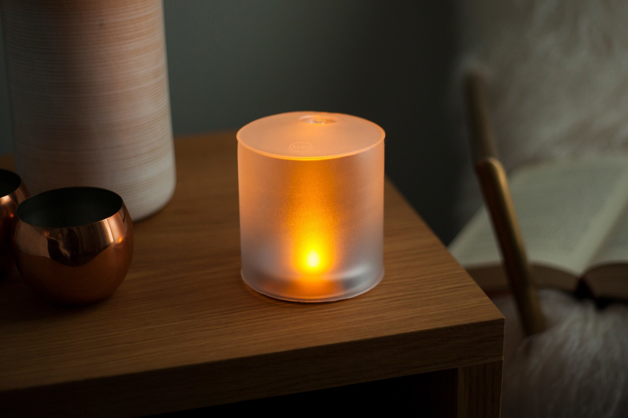The lantern on a bedside table