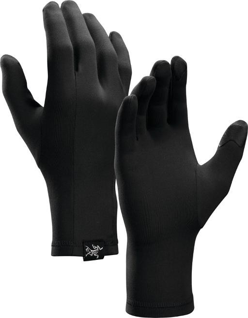 Black glove liners with Arc'teryx logo upright next to each other