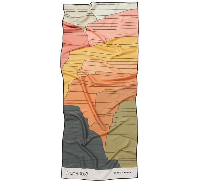 The towel in a colorful Grand Canyon pattern