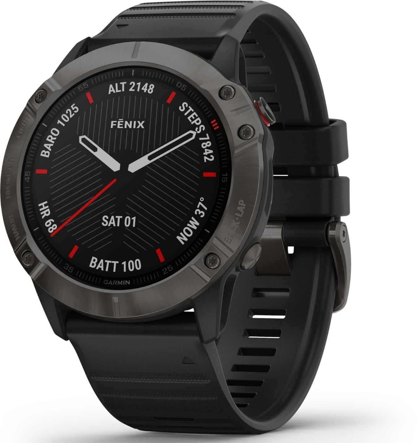 The watch with a black watch face, gunmetal dial, and silicone rubber band