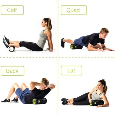 A grid showing a model using the ab roller on their calfs, quads, back and laterals
