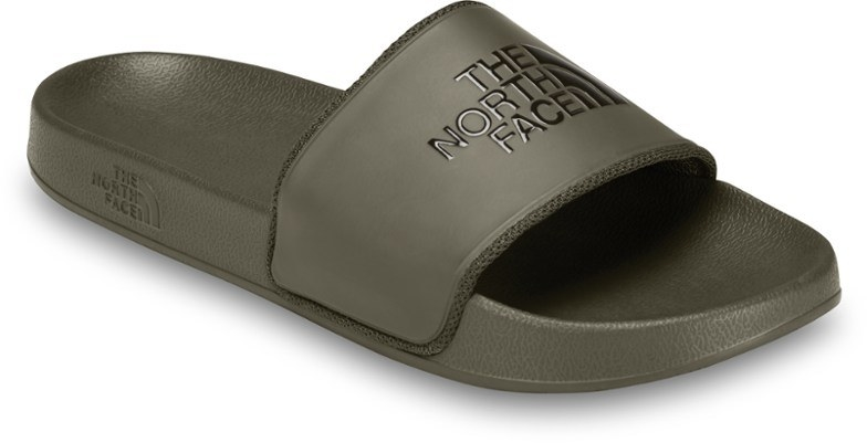 Khaki green slides with North Face logo on cover