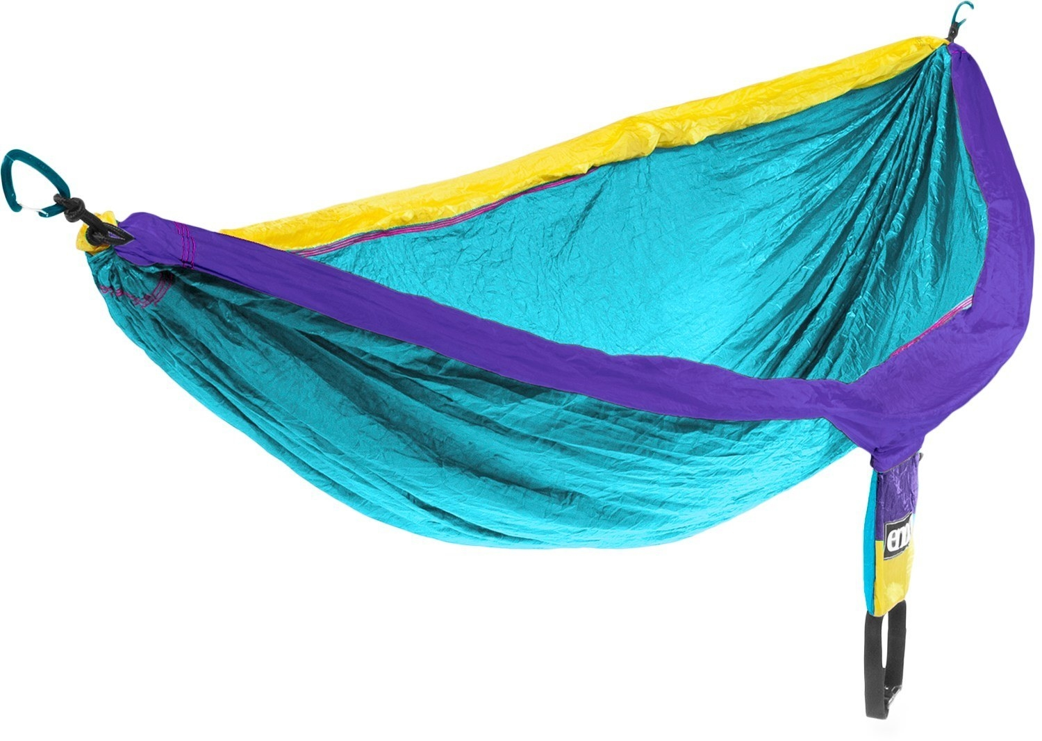The hammock in the blue, yellow, and purple colorway
