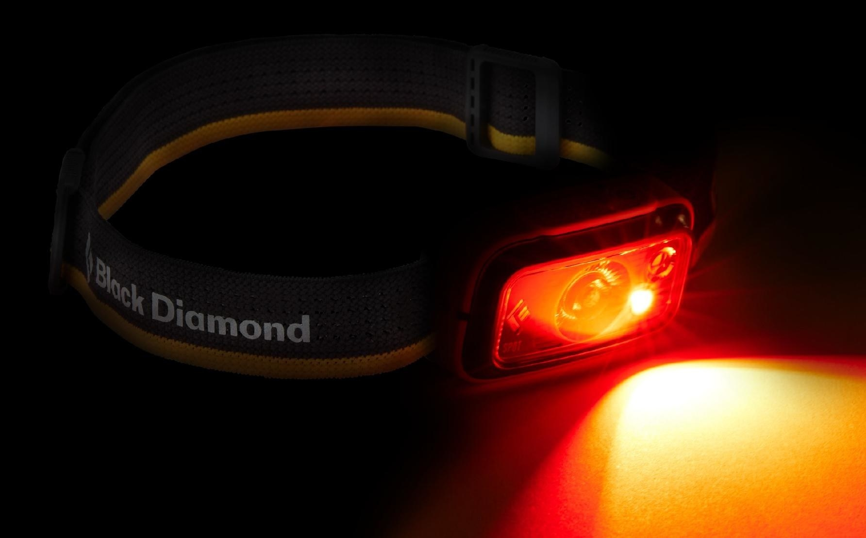 The headlamp shining light in the darkness