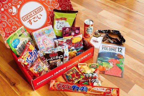 A box full of Japanese snacks