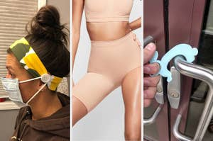 thumbnail of images with woman wearing a headband that attaches to face mask, shaping shorts with just one leg, keychain that opens doors without touching