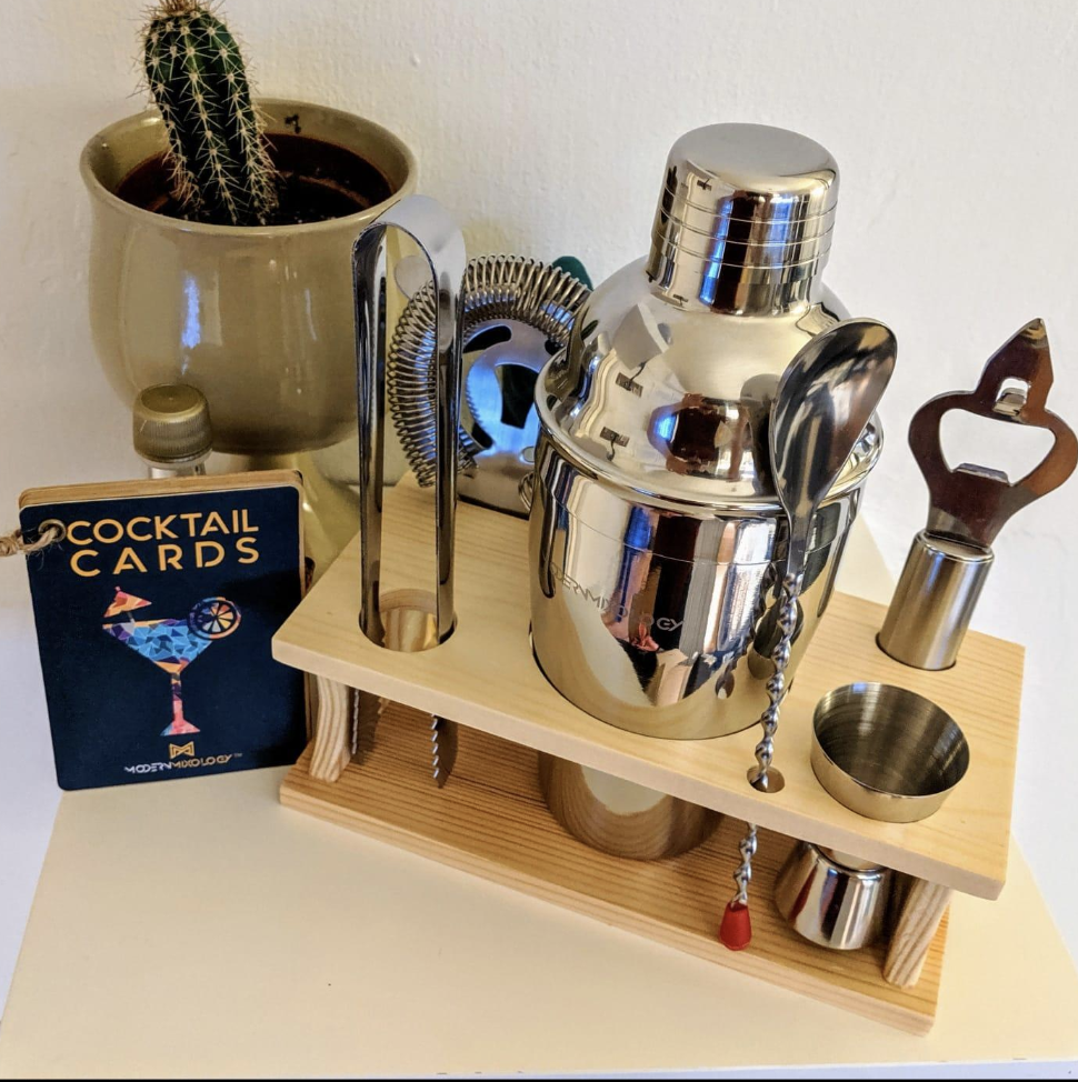 The set, which is all silver-finished, on display in a reviewer's home