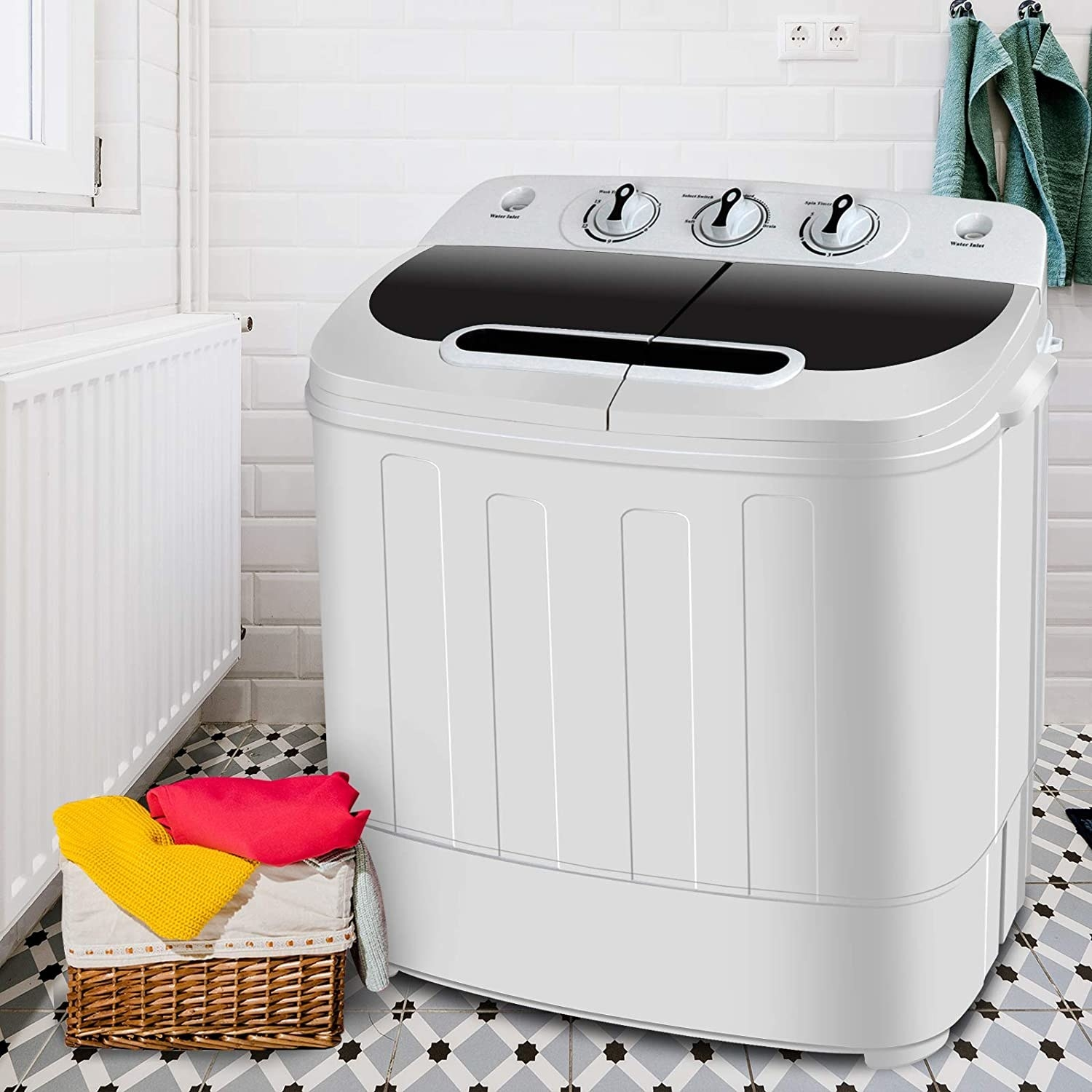 A small square shaped laundry machine with a lid and a small control panel