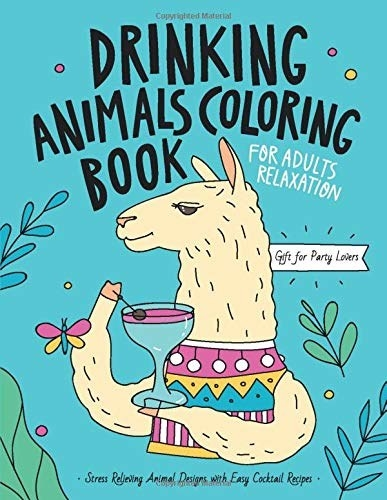 The cover of the coloring book, which has a llama drinking a cocktail