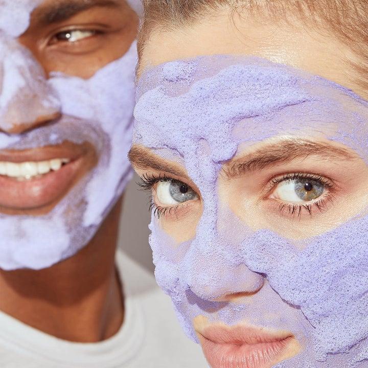 models wearing purple beauty mask