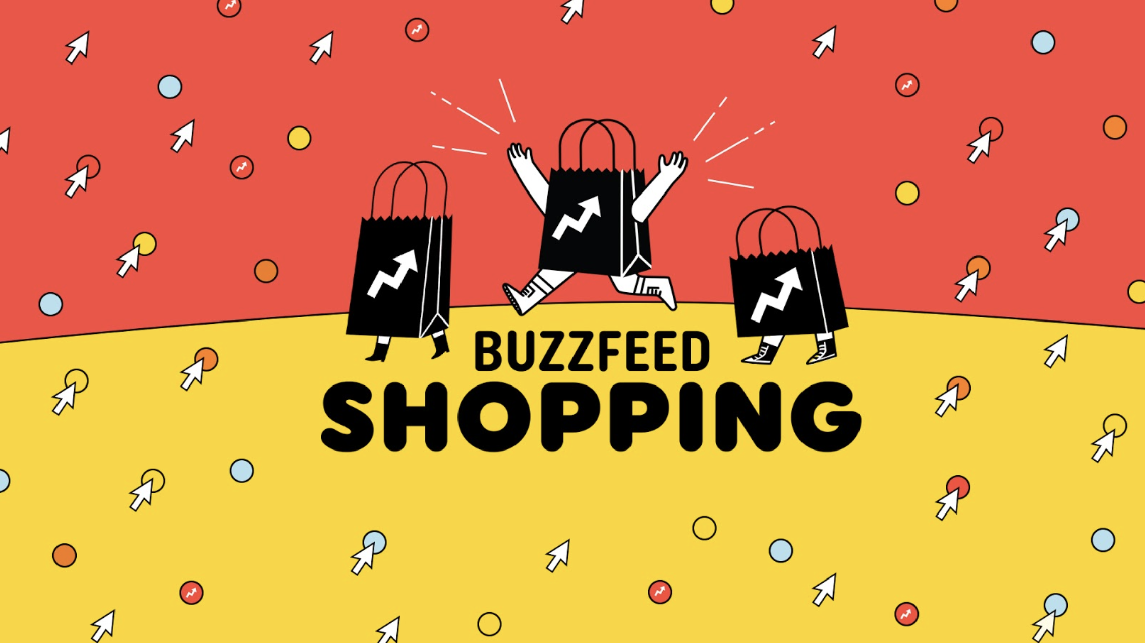 """An animation of shopping bags with legs running and a logo that says, """"BuzzFeed Shopping"""""""