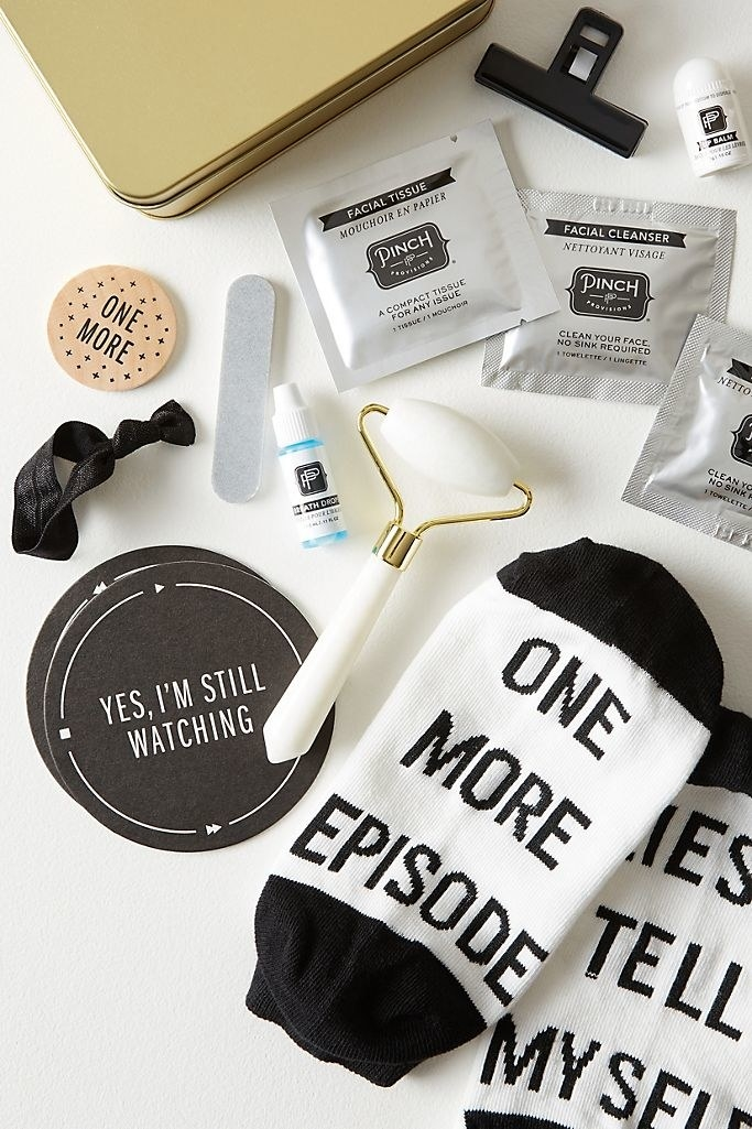 An image of all the items in the Pinch Provisions Binge-Watching Beauty Kit scattered.