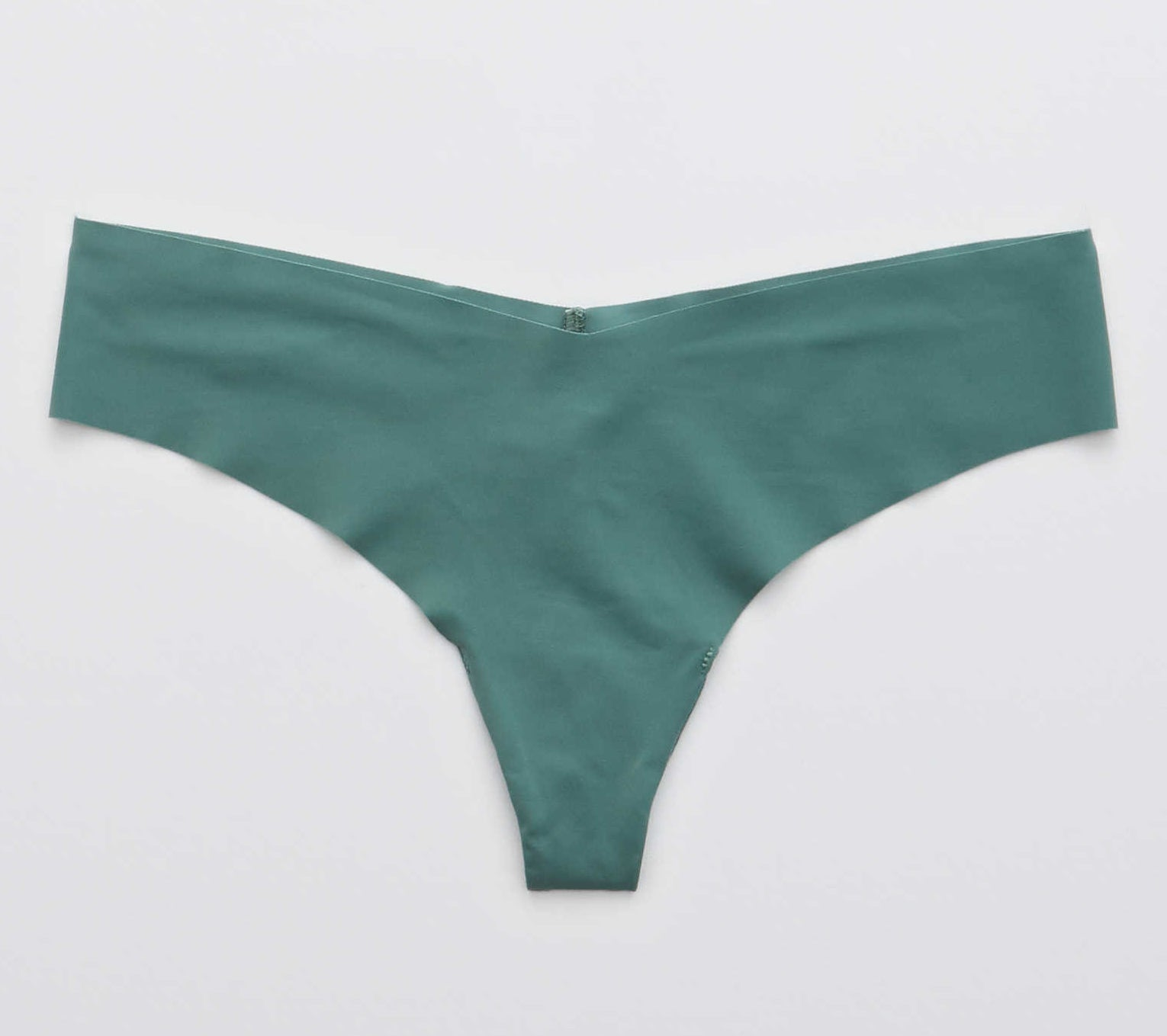 dark teal thong in smooth no-show fabric with a slight dip in the center front