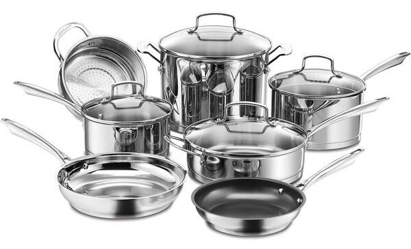 product shot of stainless steel cookware set