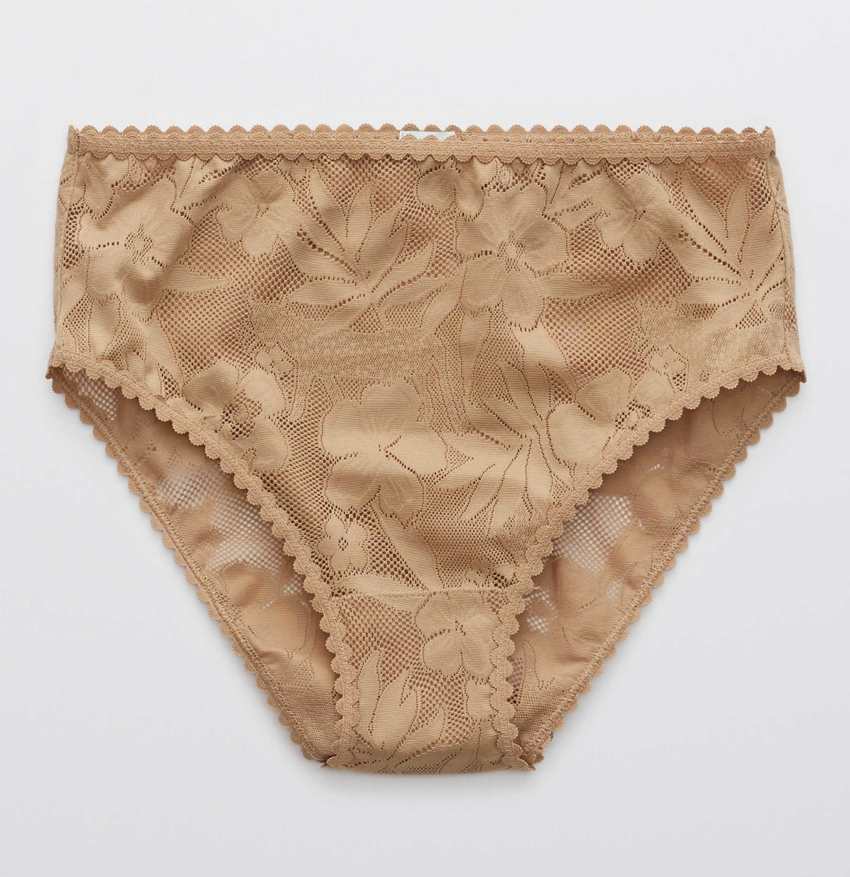 super high waisted dark beige panties with made of floral and cheetah lace with scalloped edging at the waist and leg openings
