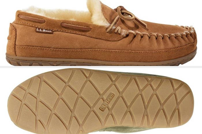 A side and bottom view of light brown LL Bean moccasins