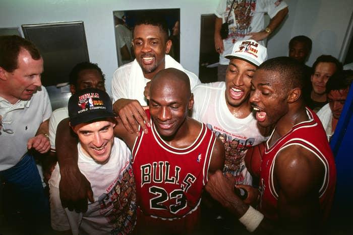 Michael Jordan celebrating his 1991 NBA championship win.