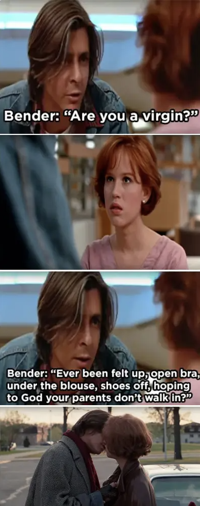 Bender asking Claire graphic details about her sex life while she's in shock and them kissing at the end of the movie