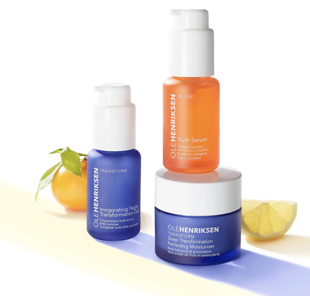 A three-piece set including a gel in a pump bottle, a serum in a pump bottle, and a jar of moisturizer