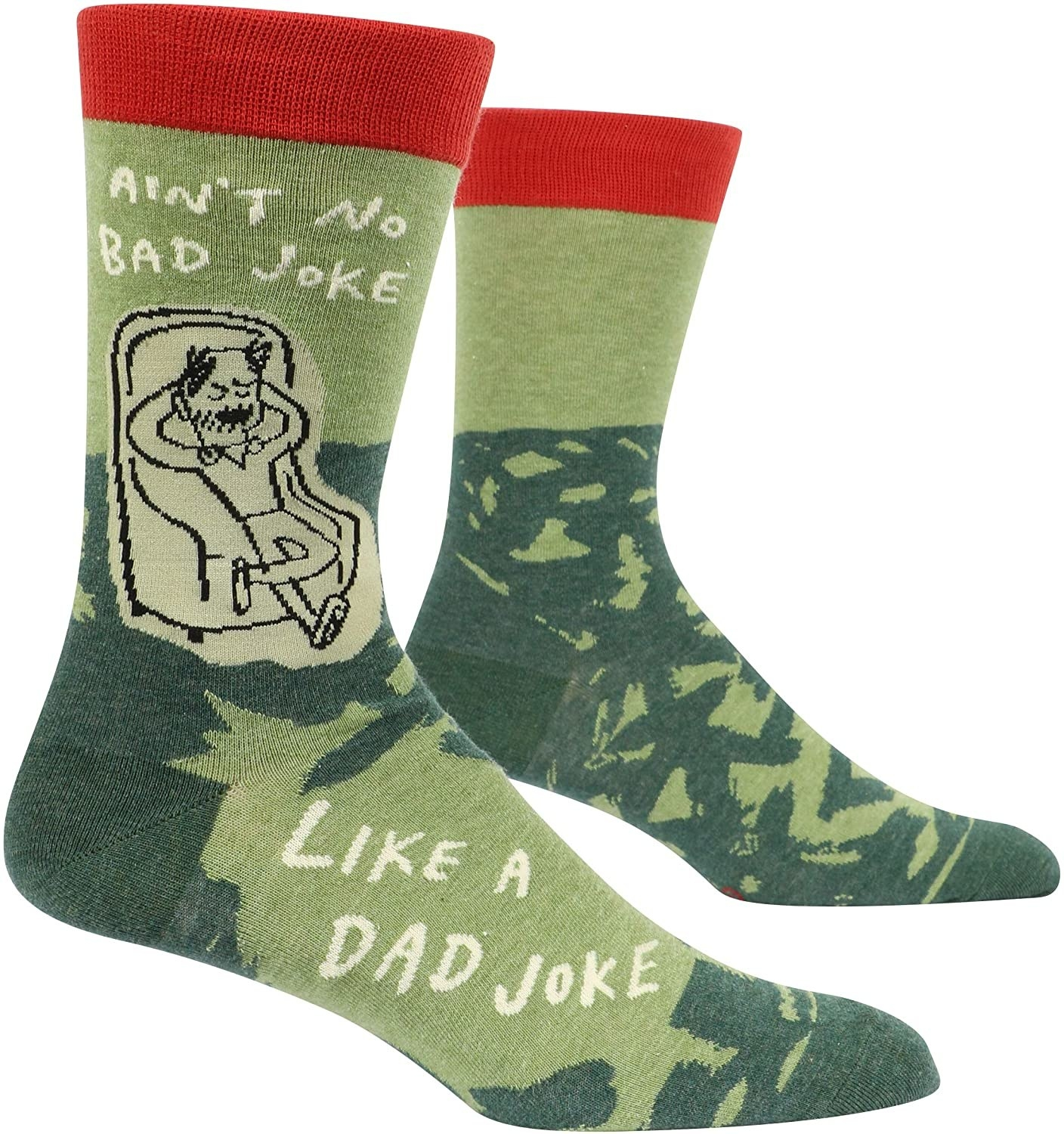 "Socks that read ""Ain't no bad joke like a dad joke"" and feature a sketch of a pleased-with-himself dad lounging in an armchair"