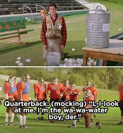 The football players mocking Bobby's stutters