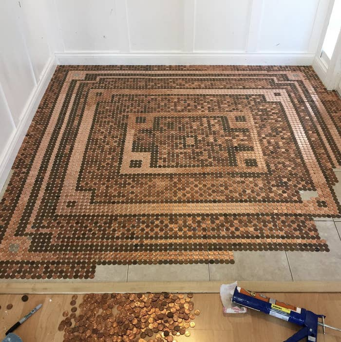 This Woman Made An Entire Floor With 7 500 Pennies And It S Completely Mesmerizing