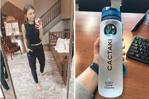 A woman posing in joggers and a person holding a water bottle