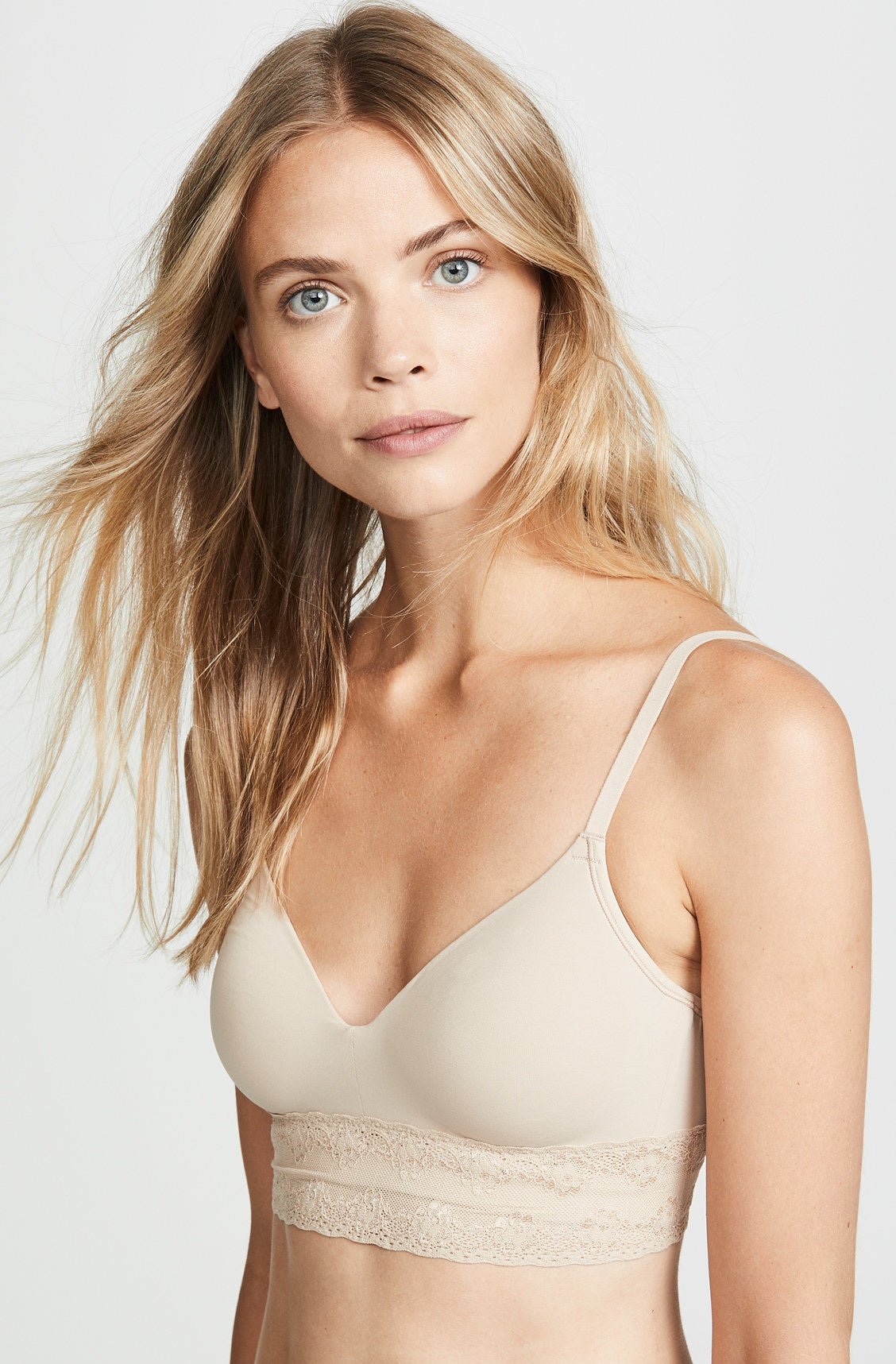 Model wearing the bra in nude