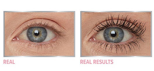 Two close-ups of an eye with and without the mascara. The photo without mascara shows an eye with short, barely visible lashes and the photo with mascara shows the eye with noticeably longer, darker, more volumized bottom and top lashes