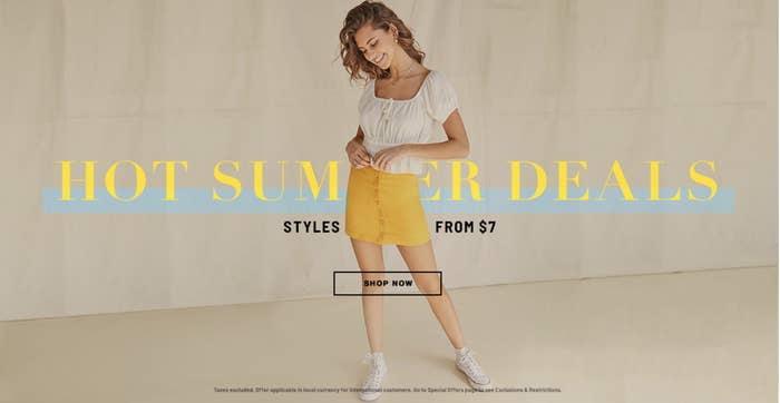 A model on the Forever 21 site